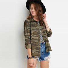 Military Style Jacket Women Casual Fashion Jackets Camouflage Overcoat Women Tops Vintage Army Green Outwear Women