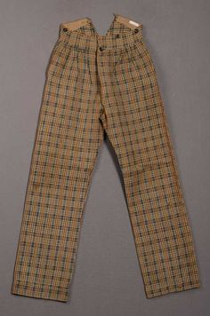 Ca.1860 men's trousers of brown, beige, and blue plaid wool twill. Centraal Museum, Netherlands.