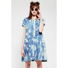Lazy Oaf Acid Wash Oversized Babydoll Dress ($110) ❤ liked on Polyvore