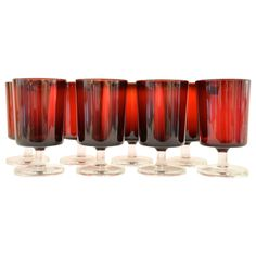 Vintage Set of 13 French Water Goblets in Ruby Red | From a unique collection of antique and modern glass at https://www.1stdibs.com/furniture/dining-entertaining/glass/
