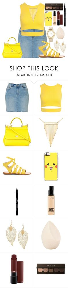 """""""yellow"""" by lipsy-look ❤ liked on Polyvore featuring Sans Souci, Dolce&Gabbana, Simone I. Smith, Cornetti, Casetify, Givenchy, MAC Cosmetics, Christian Dior and Chico's"""