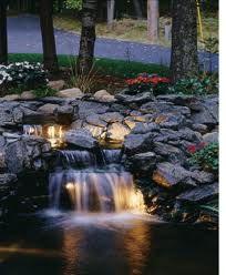 Waterfall with lights