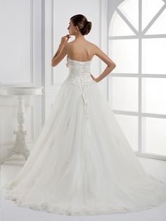 Elegant Sleeveless with Natural waist wedding dress  Ball Gown,Floor Length,Natural,Sweep/Brush Train,Sweetheart,Sleeveless,Appliques,Beading,Bow,Lace,Sashes/Ribbon,Lace-Up,Tulle,Church,Garden/Outdoor,Hall,Spring,Fall,Winter,