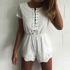 Wheretoget - White lace-up lace white romper
