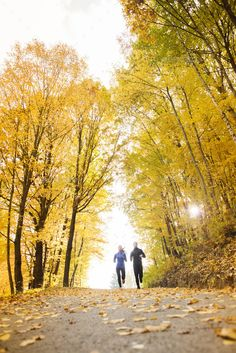 Buy Running couple by halfpoint on PhotoDune. Young running couple jogging in autumn nature Couple Running, Running Feet, Running Track, Trail Running, Running Tips, Running Women, Running Images, Running Pictures, Photography Props