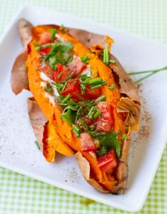 Skinny Stuffed Sweet Potatoes – Healthy Low Calories Recipes--1 sweet potato, oven-baked/slit down middle 3/4 cup plain soy yogurt 1/3 cup tomatoes, diced sprinkle of chopped cilantro chopped chives a few dashes of chipotle spice salt/pepper to taste