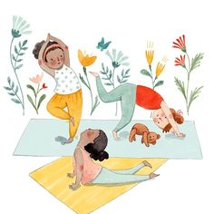 This is from last year but I think I only posted a picture of it in process? Kids doing yoga ? Yoga Cartoon, Cartoon Art, Yoga Illustration, Watercolor Illustration, New Year Illustration, Yoga Pictures, Pictures To Draw, Yoga Drawing, Yoga Art