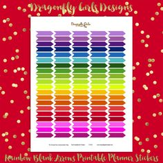 DIY Rainbow Organizational Blank Arrows 50 Printable Stickers pdf and jpeg Erin Condren Planner Kikkik Filofax Mambi
