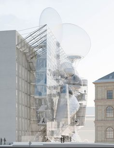 Austrian architect Wolfgang Tschapeller has won a competition to overhaul the University of Applied Arts Vienna with proposals that include facade-climbing staircases and giant balloons. Architecture Graphics, Architecture Student, Architecture Drawings, Modern Architecture, Rendering Architecture, Temporary Architecture, Architecture Diagrams, Architecture Portfolio, Parasitic Architecture
