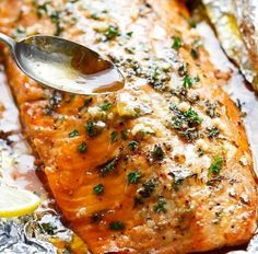 Honey Garlic Butter Salmon in Foil | Food Recipes