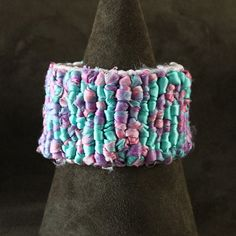 "Locker Hooked Sari Silk & Satin Cuff Bracelet: ""Can You Sea"""