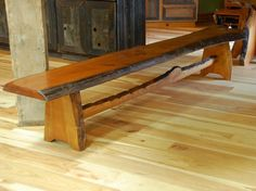 Cherry Bench with Live Edge Trestle Base
