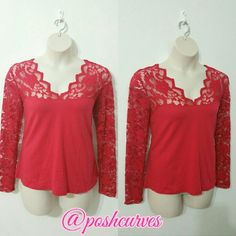 SOLD  NEW  Plus Size Scalloped Lace  Blouse 3X NWOT 95% cotton  5% spandex  Stretches  No lowballers  I ship same/next day  20% off 3 or more items Ambiance Apparel Tops Blouses