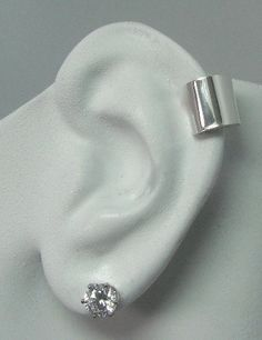 POST Pierced Cartilage Helix Hoop Hex piercing Conch Earring Body Jewelry Conch Tragus Rook Body Piercing White Gold Smooth MC10M14KWSMP