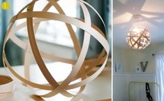 Great ideas for fall: 10 DIY Wooden Lampshade Tutorials! Wooden Lampshade, Wood Lamps, Lampshades, Diy Lampshade, Diy Pendant Light, Pendant Lighting, Diy Light, Globe Pendant, Pendant Lamp