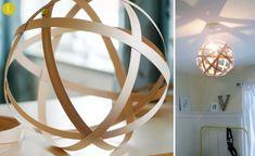 Great ideas for fall: 10 DIY Wooden Lampshade Tutorials! Wooden Lampshade, Wood Lamps, Lampshades, Diy Lampshade, Wood Pendant Light, Pendant Lighting, Painted Sticks, Diy Holz, Wood Veneer