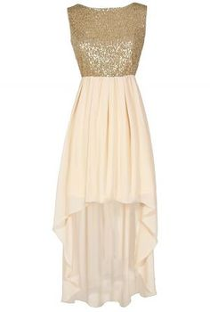 You'll feel angelic and pretty in this dramatic sequin and chiffon high low dress. The Gilded Angel Gold and Ivory Sequin Chiffon High Low Dress is fully lined to the mid-thigh. The top is made of a shimmery gold fabric with miniature sequins throughout Pink Formal Dresses, Grad Dresses, Trendy Dresses, Dance Dresses, Cute Dresses, Beautiful Dresses, Short Dresses, Dress Formal, Party Dresses