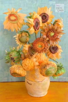 Sunflowers in vase Vincent Van Gogh art