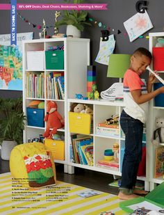 The Land of Nod - August 2016 Catalog - Page Playroom Rug, Shelving, Besties, Yellow, Blue, Bookcase, Catalog, Kids Rugs, Red
