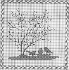 ru / Фото - Tiere und Baume - Mosca / counted cross-stitch, but i think it could be worked into filet Cross Stitch Tree, Just Cross Stitch, Cross Stitch Samplers, Cross Stitch Animals, Cross Stitch Flowers, Cross Stitching, Cross Stitch Embroidery, Cross Stitch Patterns, Filet Crochet