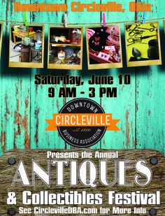 The Antiques and Collectibles Festival happens on June 10, 2017.  To find out more info about the event or to find out becoming a vendor go to the following page:  http://circlevilledba.com/event/antiques-collectibles-festival/
