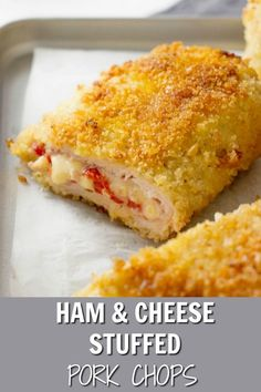 These breaded pork chops are stuffed with a delicious combo of ham, cheese and roasted peppers. It's a comfort food dinner recipe your family will love. #porkchops #porkchopsrecipe #stuffedporkchops #spanishrecipes #comfortfoodrecipe