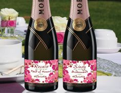 Pink Flowers Bride Mini Champagne Labels by LabelByLoveArts