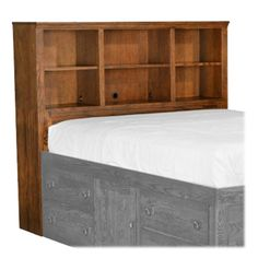 Our solid wood bookcase headboards look great while saving you space! Perfect for kids, teens, AND adults. It can also be paired with many of our standard beds. Click to see how many quality American made choices you really have with Stuart David! Bookcase Headboard, Bookcase Storage, Bed Storage, High Platform Bed, Space Saving Furniture, Cabins In The Woods, Bedroom Bed, Real Wood, Your Space