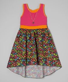 Another great find on #zulily! Girls Rule Fuchsia & Orange Heart Hi-Low Dress & Necklace - Girls by Girls Rule #zulilyfinds