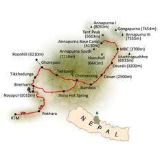 Route map of Annapurna base camp trekking from Nepal Himalayas Trekking  http://www.nepalhimalayastrekking.com/annapurna-base-camp-trek.html
