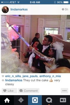 Pretty odd they cute the cake with a sword??? Not to impressed with that pretty silly.