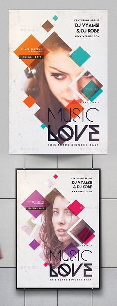 Minimal Music Love Flyer by SUPERBOY1 FeaturesEasy Editable Text CMYK @ 300 DPI Print-Ready. Perfectly Aligned Organised Layers and Grouped 0.25 inch Bleed Area and Gui Geometric Graphic Design, Graphic Design Flyer, Creative Poster Design, Event Poster Design, Geometric Poster, Creative Flyers, Event Posters, Brochure Design, Minimalist Design Poster