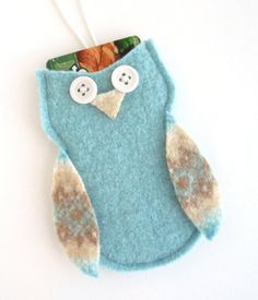 Felted Wool Owl Gift Card Holder / Ornament, Christmas ornament, Upcycled, Baby Shower Decoration, Easter Gift on Etsy, $7.00