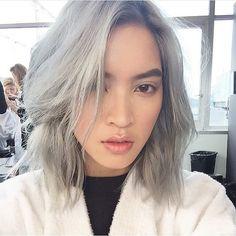 15437ac37530 Model Marga Esquivel s Silver Hair at Gucci Resort 2016 - Vogue Asian Hair  Grey