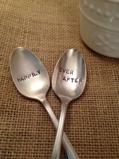 Hand Stamped Silver Coffee Spoons Wedding Gift by ThirtySixDesign, $30.00