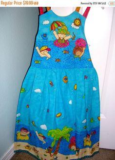 Girls Summer dress fun in the sun kids lake by ConniesQuiltFabrics