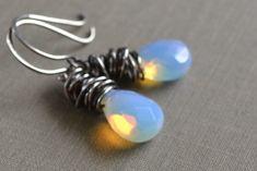 Opalite Glass Wire Wrapped Earrings Opal Teardrops by leprintemps, $28.00