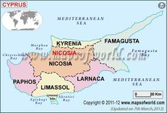 - it an Eurasian island country, is the third largest island in the Mediterranean Sea. Paphos, Limassol, South Cyprus, Cyprus Island, Nicosia Cyprus, English Castles, Island Map, Country Maps, Mediterranean Sea