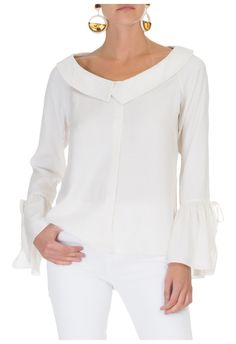 BOBSTORE - Camisa decote assimétrico - off white - OQVestir