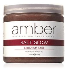 Amber's Salt Glow has an effective formula designed to remove dead skin cells and soften the skin. By exfoliating and renewing skin, Salt Glow helps to prepare for Masque and Serum application allowing for more effective nutrient absorption. Dead Sea Salts blended with ultra-hydrating oils and pure essential oils creates and intense exfoliation for the entire body. Relax and mentally balance with this fresh, uplifting scent of Geranium Sage!