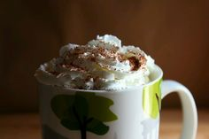 Pumpkin Spice Latte: 2 cups milk 2 tbsp canned pumpkin OR 1 tsp Torani Pumpkin Spice Syrup ~2 tbsp sugar or sugar substitute - 2 tbsp vanilla extract 1/2 tsp pumpkin pie spice 1-2 shots espresso. In saucepan combine milk, pumpkin & sugar; cook on medium, stirring, til steaming. Remove from heat, stir in vanilla and spice, transfer to a blender and process for 15 seconds until foamy. Pour into mugs. Add the espresso on top. Top with whipped cream & sprinkle pumpkin pie spice, nutmeg, or…