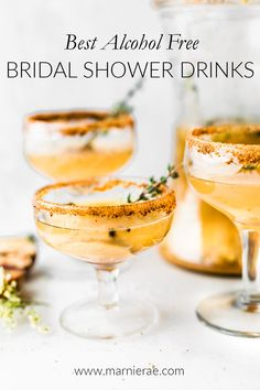 Honey Roasted Pear Sparkling Cocktails with champagne, honey roasted pear puree, honey, cinnamon and nutmeg, and vanilla Champagne Cocktail, Signature Cocktail, Sparkling Wine, Best Alcohol, Alcohol Free, Milk Shakes, Bridal Shower Drinks, Bridal Showers, Honey