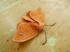 Small fabric moth/ orange brooch pin / upcycled by redtreedesigns, $42.00
