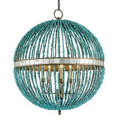 Prettiest orb chandelier!  Love the turquoise beads!