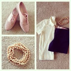 I love pink and pearls together! #shirt #jcrew #shorts #jcrew #shoes #whitemountain #classy #pearls #girly #preppy #properpinkfashion