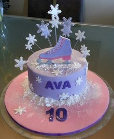 Ice Skating theme Birthday Cake