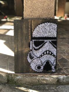 Storm Trooper Art, Star Wars String Art, Father's Day Gift, Teacher Gift, Birthday Star Wars String Art Templates, String Art Tutorials, String Art Patterns, Diy String Art, Doily Patterns, Star Wars Crafts, Star Wars Art, Star Trek, Birthday Star Wars