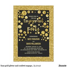 faux gold glitter and confetti engagement party