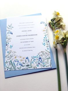 SPRING HEDGEROW WEDDING INVITATION | By Hollyhock Lane Lots of English woodland and hedgerow country flowers for a modern rustic wedding. The design includes hand painted bluebells, daisies, forget me knots, cow parsley and botanical foliage. The illustrations are painted in watercolours and include blues, sage greens, whites and pale yellow. This invite is perfect for a Spring Wedding and comes with a full range of matching stationery. #fineartwedding #springbotanicalwedding…
