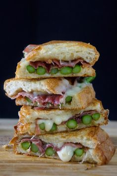 Asparagus, Fontina & Speck Ham Panini--comfort food for rainy/snowy spring days, no panini press necessary!